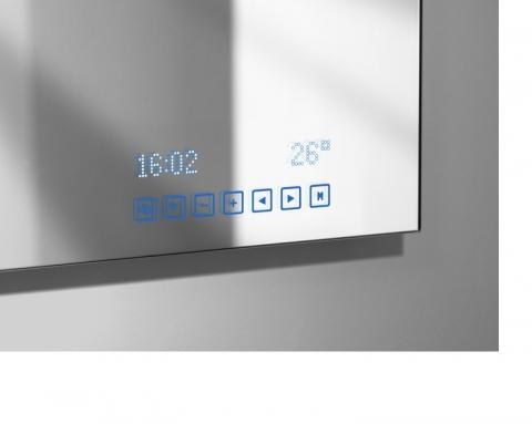 Miroir multim dia affichage digital tuner radio int gr - Miroir salle de bain lumineux avec radio ...